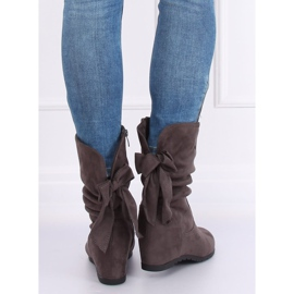 Gray Wedge boots H8120 Gris grey 6