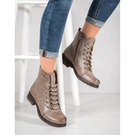 Forever Folie Beige lace-up boots 2