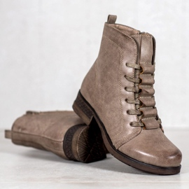 Forever Folie Beige lace-up boots 5