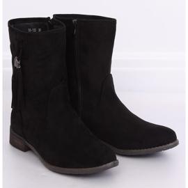 Black women's flat black boots 99-133 Black 2
