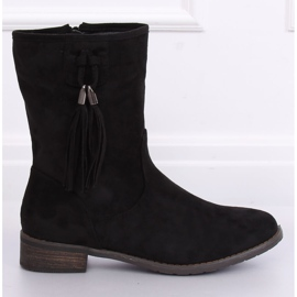 Black women's flat black boots 99-133 Black 3