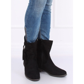 Black women's flat black boots 99-133 Black 4