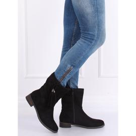 Black women's flat black boots 99-133 Black 1