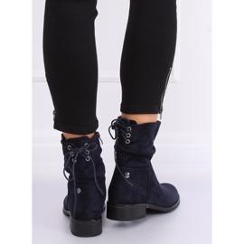 Navy blue women's flat boots B-09 Blue 5