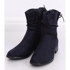 Navy blue women's flat boots B-09 Blue 2
