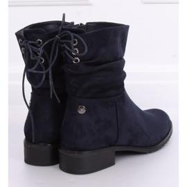 Navy blue women's flat boots B-09 Blue 4