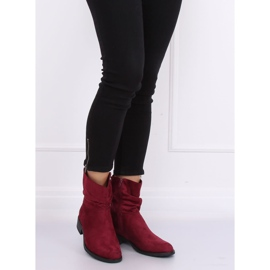 Women's flat burgundy boots B-09 Wine red 3