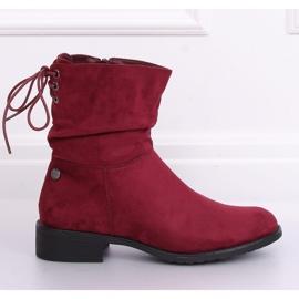 Women's flat burgundy boots B-09 Wine red 1