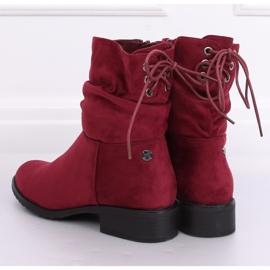 Women's flat burgundy boots B-09 Wine red 2