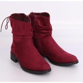 Women's flat burgundy boots B-09 Wine red 4
