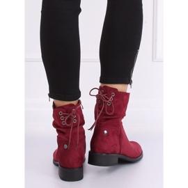 Women's flat burgundy boots B-09 Wine red 5