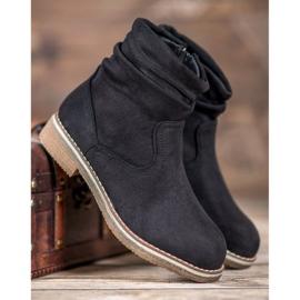 SHELOVET Suede Flat Boots black 5