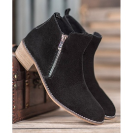 Goodin Leather Booties With A Zipper black 3