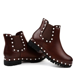 Burgundy Chelsea boots with pearls C-7211 red 2