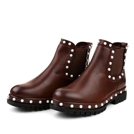 Burgundy Chelsea boots with pearls C-7211 red 3