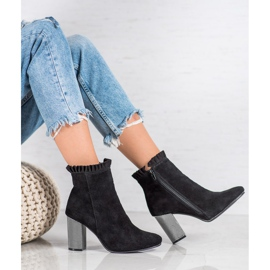 Goodin Leather Booties With A Frill black 7