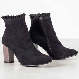 Goodin Leather Booties With A Frill black 3