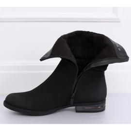 Black women's flat black boots 5139 Black 5