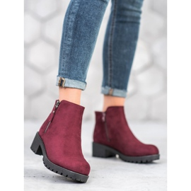 Diamantique Burgundy boots with a zipper black 1