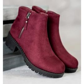 Diamantique Burgundy boots with a zipper black 2