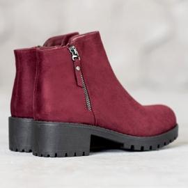 Diamantique Burgundy boots with a zipper black 3