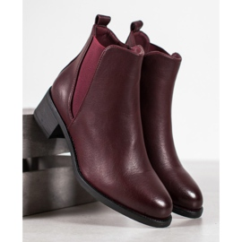 Ideal Shoes Classic boots with an elastic band red 4