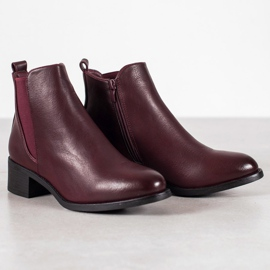 Ideal Shoes Classic boots with an elastic band red 5