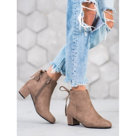 Forever Folie Suede Booties With A Bow brown 3