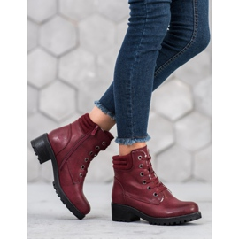 Goodin Lace-up boots with sheepskin red 1