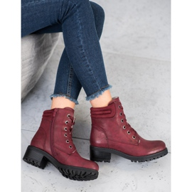 Goodin Lace-up boots with sheepskin red 3