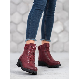 Goodin Lace-up boots with sheepskin red 2