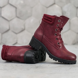 Goodin Lace-up boots with sheepskin red 4