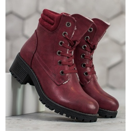 Goodin Lace-up boots with sheepskin red 5