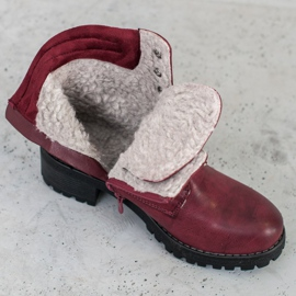 Goodin Lace-up boots with sheepskin red 6