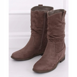 Boots on a hidden wedge beige and gray 9475 Khaki 3
