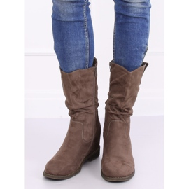 Boots on a hidden wedge beige and gray 9475 Khaki 1