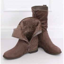 Boots on a hidden wedge beige and gray 9475 Khaki 4