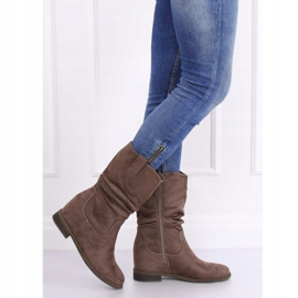 Boots on a hidden wedge beige and gray 9475 Khaki 2