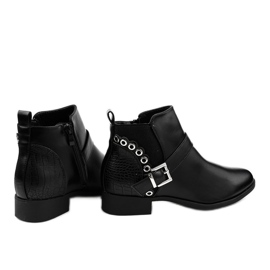 Black flat ankle boots with an elastic band and a Y8159 zipper 1