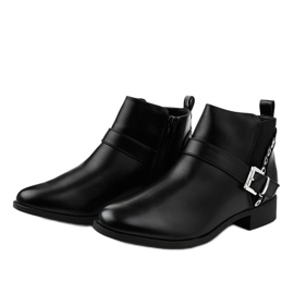 Black flat ankle boots with an elastic band and a Y8159 zipper 2