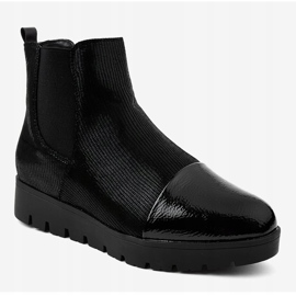 Black flat boots with an elastic band KLS-83-1 1