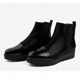 Black flat boots with an elastic band KLS-83-1 2
