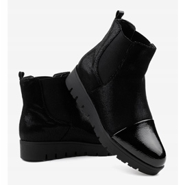 Black flat boots with an elastic band KLS-83-1 3