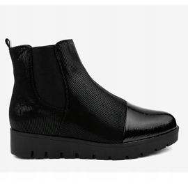 Black flat boots with an elastic band KLS-83-1 4