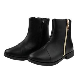 Women's black flat boots CH-7 2