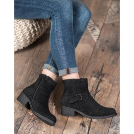 J. Star Suede Booties With Buckle black 4