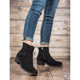 J. Star Suede Booties With Buckle black 3