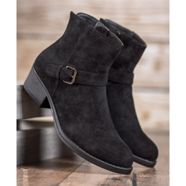 J. Star Suede Booties With Buckle black 1