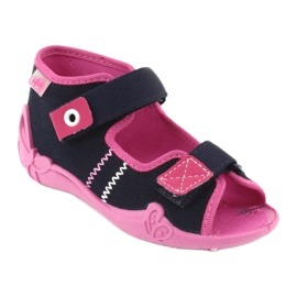 Girls slippers Velcro Befado 242p056 navy blue pink 1