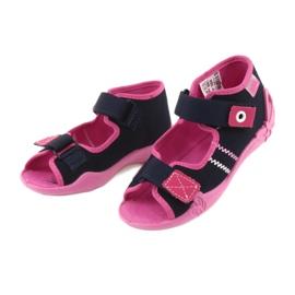 Girls slippers Velcro Befado 242p056 navy blue pink 3